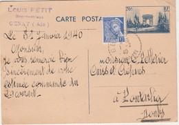 Entier 1940 / Arc Triomphe 70 C + Complément / Carte Commerciale Louis PETIT / 01 Genay Ain - Maps