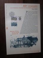 Premier Jour - Collection Historique Du Timbre-poste Français - 85e Congrès Philatéliques Paris  (2012) - Documents De La Poste