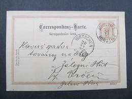 GANZSACHE Mirotice Mirotitz - Wrtschen Vrcen 1895 Korrespondenzkarte  /// D*31811 - Briefe U. Dokumente