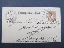 GANZSACHE Nixdorf - Dresden 1889 Korrespondenzkarte  /// D*31813 - Briefe U. Dokumente