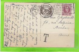 Fantasiekaart Met OCB 195 En Tx34 - 1922-1927 Houyoux