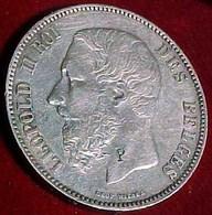 CONTREMARQUEE ,  5 F ARGENT 1874 , LEOPOLD II ROI DES BELGES, BELGIQUE , BELGIUM 5 FRANCS SILVER COIN  CURIOSA - 1865-1909: Leopold II