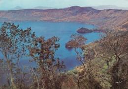 Lago De Coatepeque Lake El Salvador, Sc#C381 Air Mail Stamp, 1970s Vintage Postcard - El Salvador