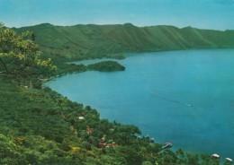 Lago De Coatepeque Lake, Santa Ana El Salvador, Sc#C320 Air Mail Stamp, 1960s/70s Vintage Postcard - Salvador