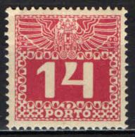AUSTRIA - 1913 - CIFRA IN UN RETTANGOLO - 14 H. - MH - Postage Due