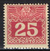 AUSTRIA - 1910 - CIFRA IN UN RETTANGOLO - 25 H. - MH - Postage Due