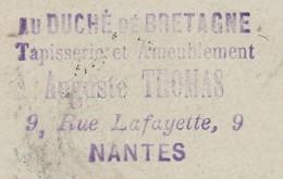 """Carte Commerciale 1895 / Entier / Auguste THOMAS / """"Au Duché De Bretagne""""/ Tapisserie / 44 Nantes - Maps"""
