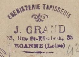 Carte Commerciale 1898 / Entier / J. GRAND / Ebenisterie Tapisserie / 42 Roanne Loire - Maps