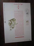 Premier Jour - Collection Historique Du Timbre-poste Français - Horoscope Chinois - Année Du Tigre (2010) - Documents De La Poste