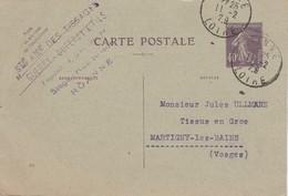 Carte Commerciale 1929 / Entier Semeuse 40 C / Sté Tissages / GUERRY DUPERAY / 42 Roanne Loire - Maps