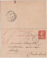 Carte Lettre Commerciale 1908 / Entier Semeuse  / BLONDEAU Louis / 59 Marchiennes Nord - Maps