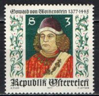 AUSTRIA - 1977 - OSWALD VON WOLKENSTEIN - POETA E DIPLOMATICO - MNH - 1945-.... 2nd Republic
