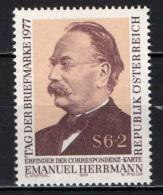 AUSTRIA - 1977 - DR. E. HERMANN (1839-1902) , INVENTORE DELLE CARTOLINE POSTALI - MNH - 1945-.... 2nd Republic