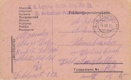 AK Feldpostkarte - K.k. Landw.-Inftr.-Reg. Nr. 21, 3. Arbeiter-Abteilung - 1915 (34842) - 1850-1918 Imperium