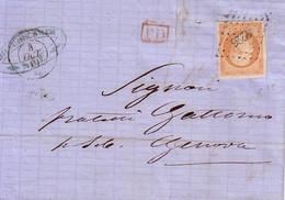 ALPES MARITIMES - NICE - EMPIRE N°16 OBLITERATION PC4226 - LETTRE DU 8-10-1861 POUR GENOVA - AVEC TEXTE ET SIGNATURE. - Marcophilie (Lettres)