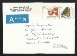 Belgium Air Mail Postal Used Cover Belgie To Pakistan  Bird Birds Animal - Belgique