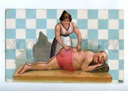 227047 Masseur Girl Massage In Bath Nude Men Vintage Postcard - Ethnics