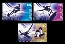 Austria 2018 Mih. 3396/98 Water Sports. Waterskiing. Kitesurfing. Sailing. Olympic Champions Hagara & Steinacher MNH ** - 2011-... Unused Stamps
