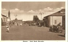 """836 """" ASMARA - VIALE BENITO MUSSOLINI CON AUTO E AUTOCARRO """" CART ANIMATA NON SPED. - Etiopia"""