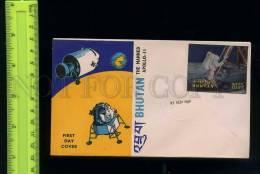 228884 BHUTAN 1969 Manned Apollo 11 3-D Stamp FDC - Bhoutan