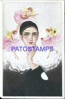 94066 ART ARTE PIERROT AND ANGEL CUPID POSTAL POSTCARD - Illustratoren & Fotografen