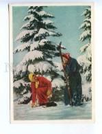 227907 USSR 1955 Skier Girls Photo By Tukkel Old Postcard - Postcards