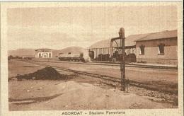"""839 """"  AGORDAT - STAZIONE FERROVIARIA CON TRENO MERCI"""" CART ANIMATA  NON SPED. - Etiopia"""