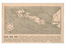20872 CPA  ILE DE RE  ; Ancienne  Carte Géographique  !    ACHAT DIRECT - La Rochelle