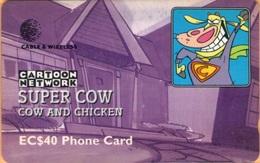 Saint Lucia - STL-277C, GPT, Cartoon Network - Super Cow, 40 EC$, 10.000ex, 1999, Used - Saint Lucia