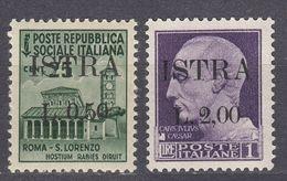 ISTRIA - 1945 - Lotto Due Valori Nuovi MNH; Unificato 24 E 29. - Jugoslawische Bes.: Istrien