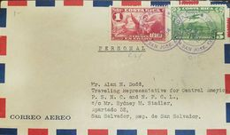 L) 1934 COSTA RICA, ANGEL, ALLEGORY OF THE AIRMAIL, 1C, RED, AIRPLANE, 5C GREEN, CIRCULAED COVER FROM COSTA RICA TO EL S - Costa Rica