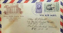 L) 1951 COSTA RICA, CARLOS LUIS VALVERDE VEGA, 80C, CARLOS DURAN, 15C, AIRMAIL, CIRCULATED COVER FROM SAN JOSE TO USA - Costa Rica