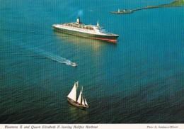 Canada Nova Scotia Bluenose II And Queen Elizabeth II Leaving Halifax Harbor - Halifax