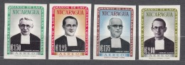 Nicaragua 1958 Famous People Four Imperforated Pieces, Mint Hinged - Nicaragua