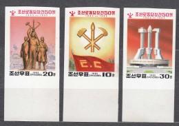North Korea 1995 Mi#3760-3762 Imperforated, Mint Never Hinged - Korea, North