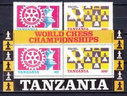 Tanzania 1986 Chess Mi#313-314 With Block 54 Mint Never Hinged - Tanzanie (1964-...)