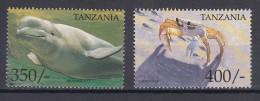 Tanzania 1999 Animals Beluga And Crab Mi#3861,3862 Mint Never Hinged - Tanzanie (1964-...)