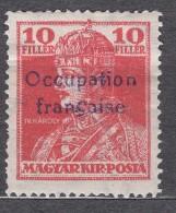 France Occupation Hungary Arad 1919 Yvert#23 Mi#26 Mint Hinged - Nuovi
