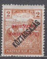 France Occupation Hungary Arad 1919 Yvert#27a Mi#30 Error - Inverted Overprint, Mint Hinged - Neufs