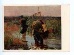 251756 POLAND Leon Vychulkovsky Fishermen Old Postcard - Other Illustrators