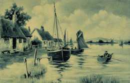Illustrateur Paysage Chaumières Lac Bateaux Barque Moulin à Vent  RV - Pittura & Quadri