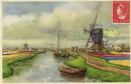 Illustrateur Paysage Des Pays Bas Fleurs Canaux Loulins à Vent + Beau Timbre RV  Beau Cachet - Pittura & Quadri