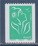 = Type Marianne De Lamouche TVP Vert De Roulette Phil@poste Neuf Gommé N°3742a Et Numéro 198 Noir à Gauche Au Verso - Rollen