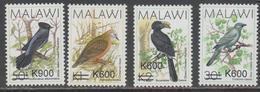 MALAWI, 2017, MNH, BIRDS, DEFINITIVES, OVERPRINTS, 4v, SCARCE - Birds