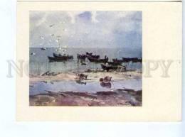 256643 USSR LATVIA Sea Kalnins After Fishing Old Postcard - Other Illustrators