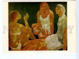 256649 USSR LATVIA Darkevitch Summer Girls 1976 Year Postcard - Other Illustrators