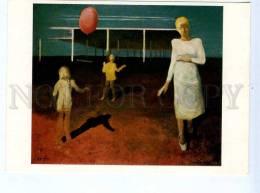 256657 USSR LATVIA Grube Sunday Ball Game 1976 Year Postcard - Other Illustrators