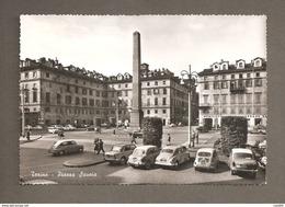 TORINO PIAZZA SAVOIA  ANIMATA AUTOMOBILI D'EPOCA CARTOLINA VIAGGIATA 1968 - Places