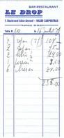 Rugby Ancienne Facture Du Bar Restaurant Le Drop, Bld Albin-Durand, Carpentras (16/7/1983) - Sports & Tourisme