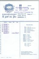 Pot Au Feu Ancienne Facture Du Restaurant La Grillade, Astilleros, Cambrils (Espagne) (20/7/1975) - Spain